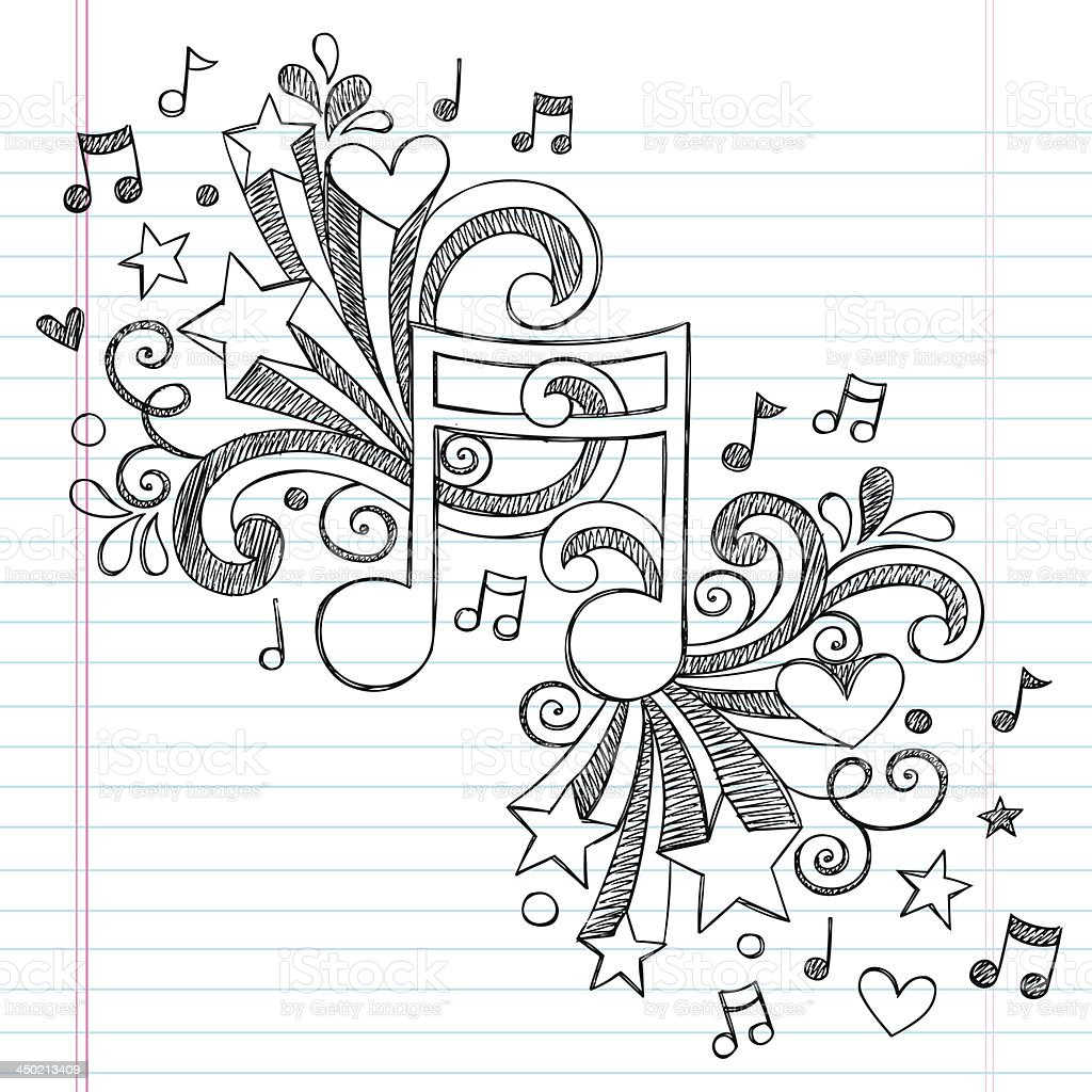 Music Note Sketchy Notebook Doodle Vector Design vector art illustration