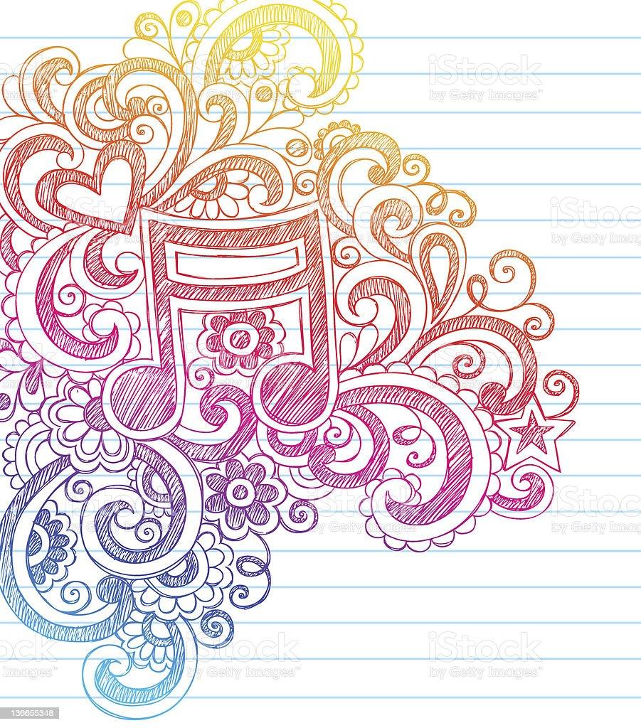 Music Note Sketchy Notebook Doodles vector art illustration