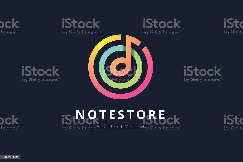 Music note store emblem. vector art illustration