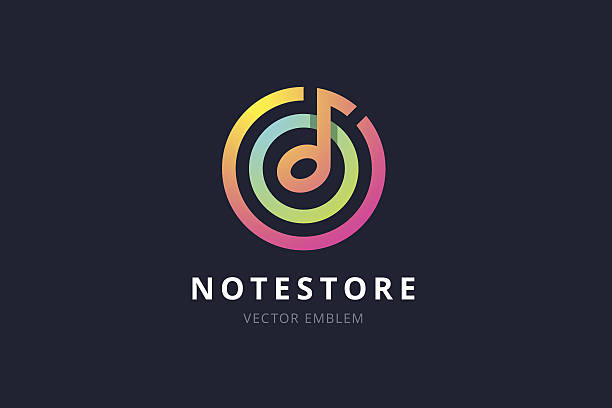illustrations, cliparts, dessins animés et icônes de music note store emblem. - icônes musique