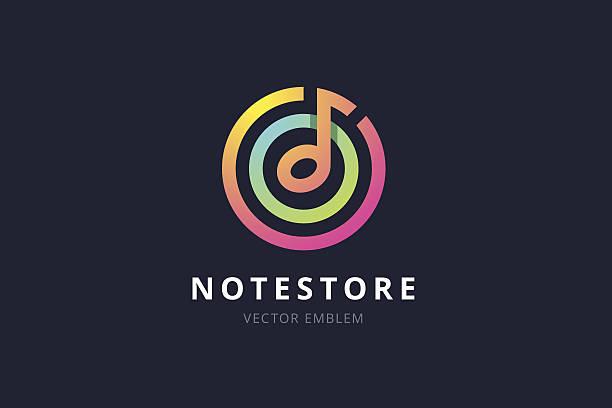 music note store emblem. - 音楽のアイコン点のイラスト素材/クリップアート素材/マンガ素材/アイコン素材