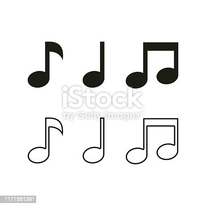Music note vector icons. Sound and melody symbols. Set of various black musical note icon isolated on white background. Vector illustration for music design. Key sign collection. Tone music logo