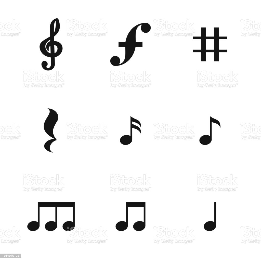 Music note vector icons vector art illustration