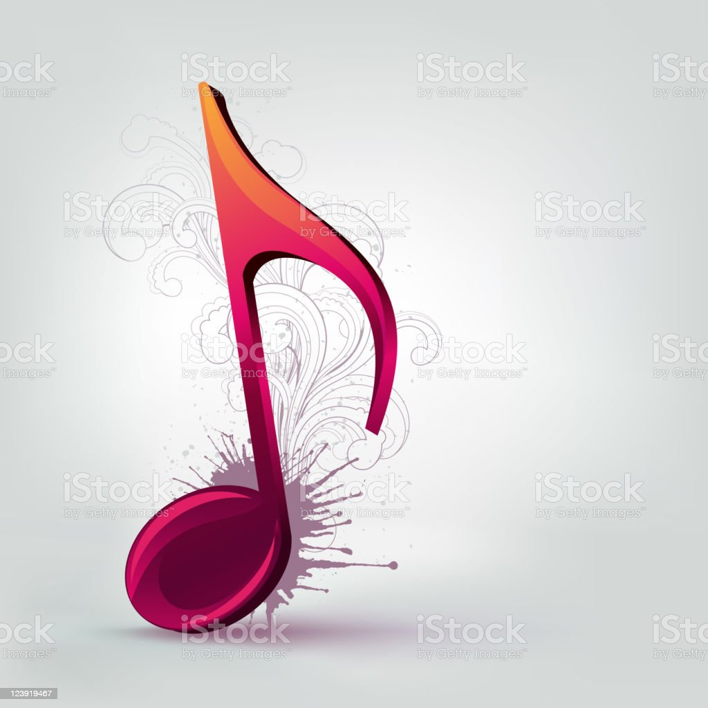 Music Purple Note Background with Swirl. Vector