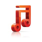 Abstract vector illustration of 3D red and glossy music note isolated on white background.