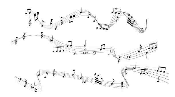 nuta - muzyka stock illustrations