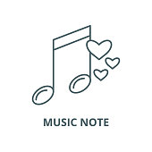 Music note vector line icon, linear concept, outline sign, symbol