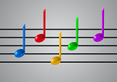 Music Staff and colorful notes on grey background. 3d realistic vector illustration. Gradient mesh.