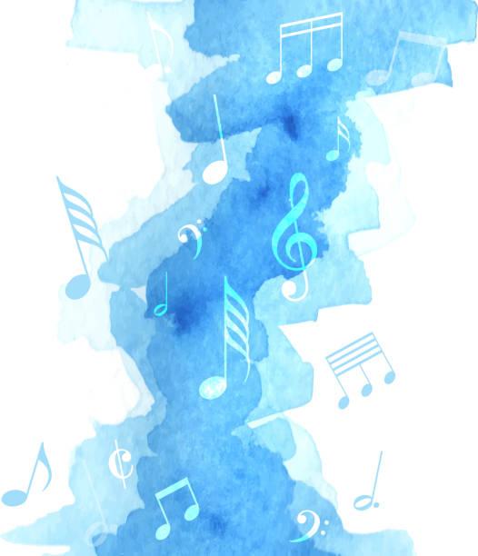 bildbanksillustrationer, clip art samt tecknat material och ikoner med musik anteckning akvarell - orkester