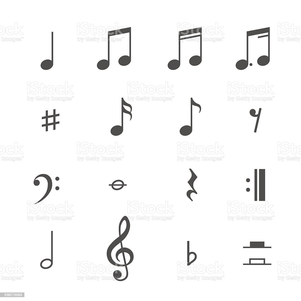 Music notes and icons vector set vector art illustration