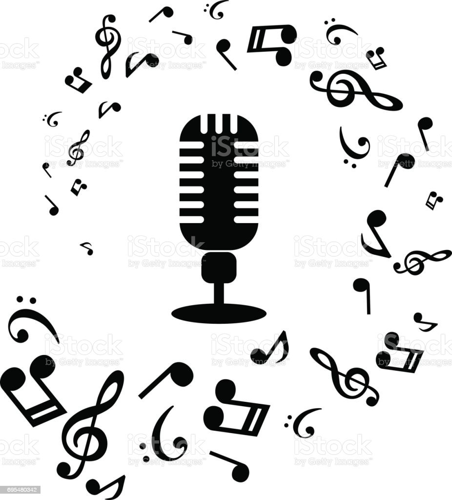 Music Notes And Microphone On White Background Vector Illustration