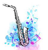 Music notes and saxophone with pink and blue watercolor texture. Abstract vector musical background