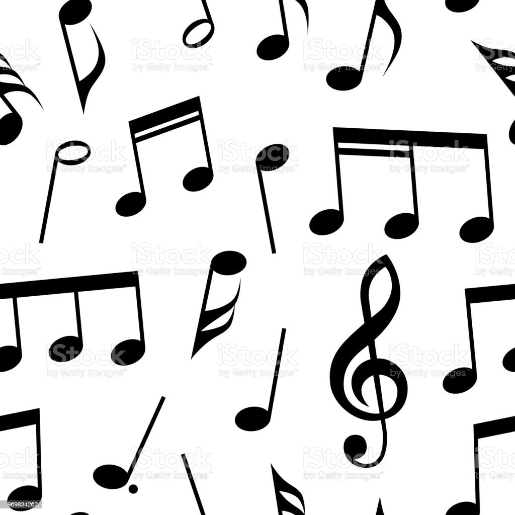 Music Notes And Symbols Seamless Pattern Design Fully Editable Fill
