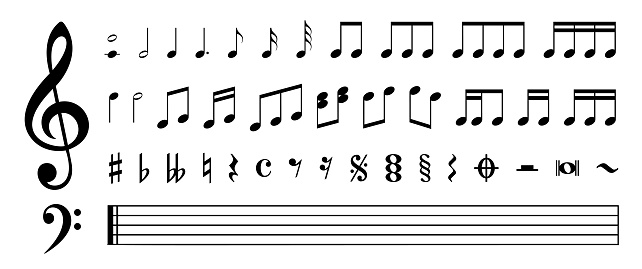 Music Notes and Symbols Set - Stock Vector Illustration