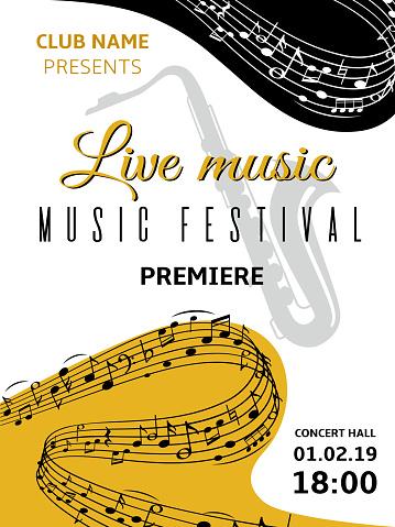 Music Notes Background Abstract Swirl Wave Musical Note Treble Clef Harmony Stave Classical Music Festival Choir Jazz Vector Poster - Immagini vettoriali stock e altre immagini di Armonia