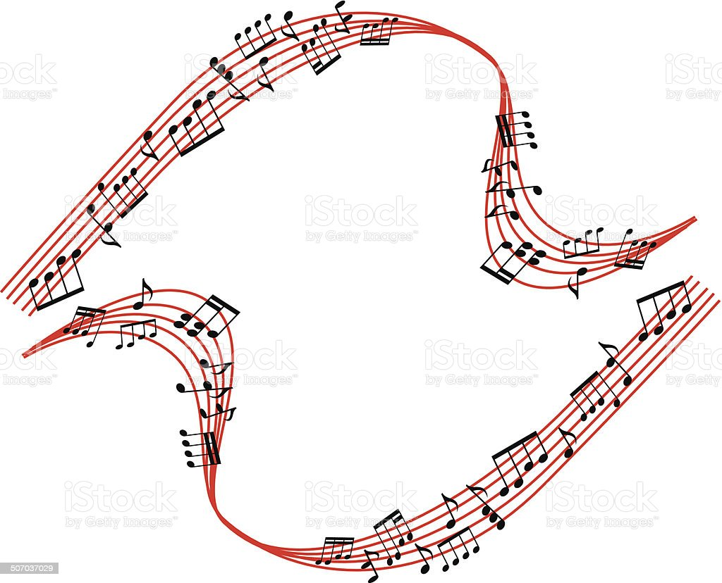 Music notes background, stylish musical theme composition vector art illustration