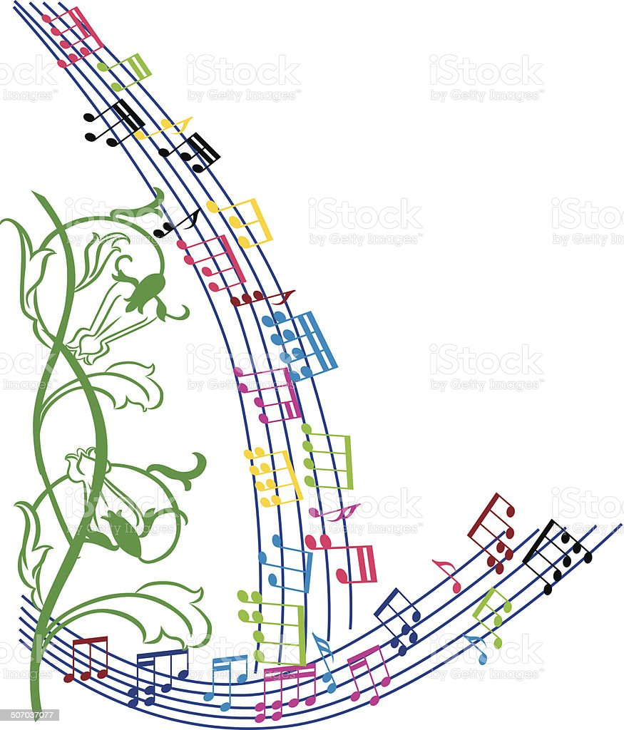 music notes background stylish musical theme frame vector royalty free stock vector art - Music Note Picture Frame