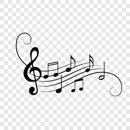Music notes background. Vector note staff flow decoration for musical concert, jazz or orchestra design element