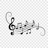 istock Music notes background. Vector note staff flow decoration for musical concert, jazz or orchestra design element 1034705560