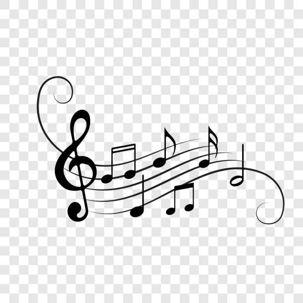 tło notatek muzycznych. wektor uwaga personel przepływu dekoracji do koncertu muzycznego, jazzu lub elementu projektowania orkiestry - muzyka stock illustrations