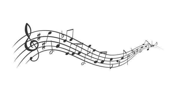 baner notatek muzycznych - muzyka stock illustrations
