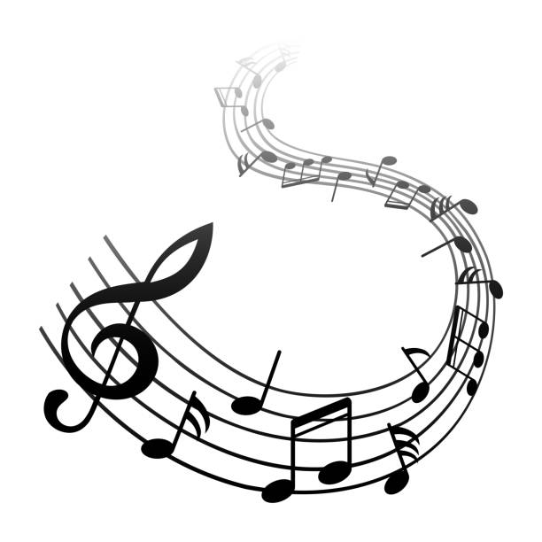 music notes, black group musical notes – vector for stock - waltornista stock illustrations