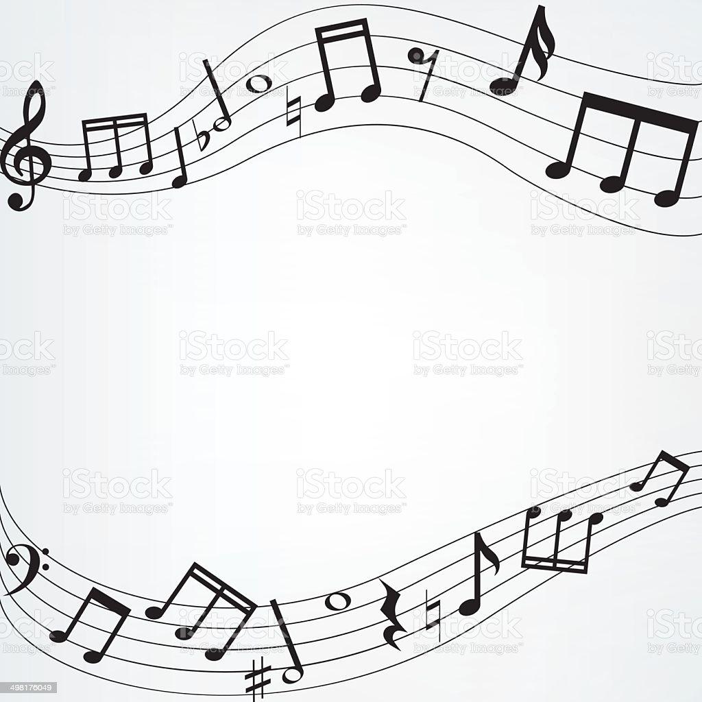 music notes border vector art illustration