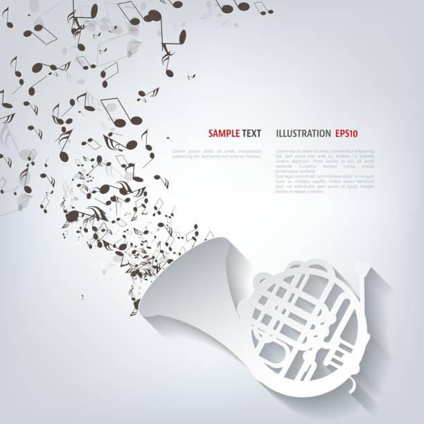 ikony muzyka instrumenty dęte - waltornista stock illustrations