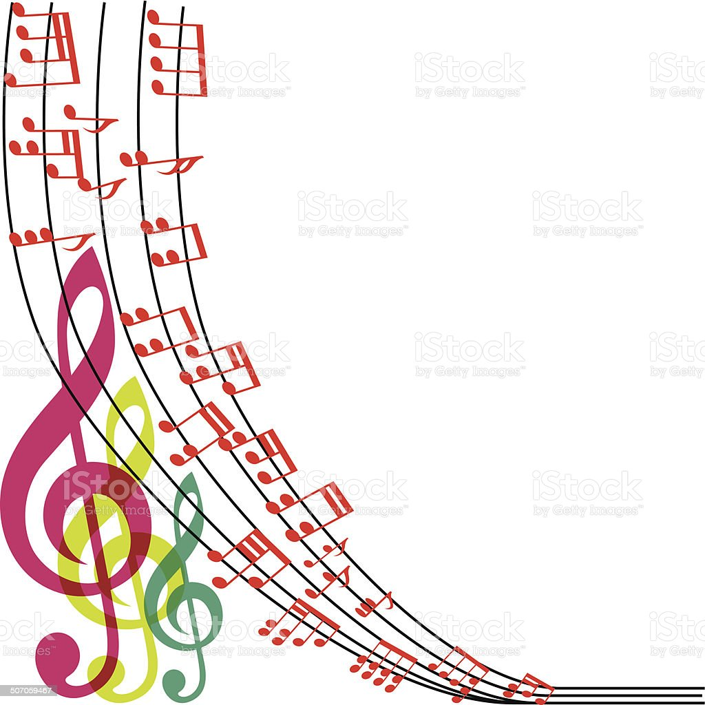 Musical Wallpaper Borders: Music Notes Composition Musical Theme Background Vector