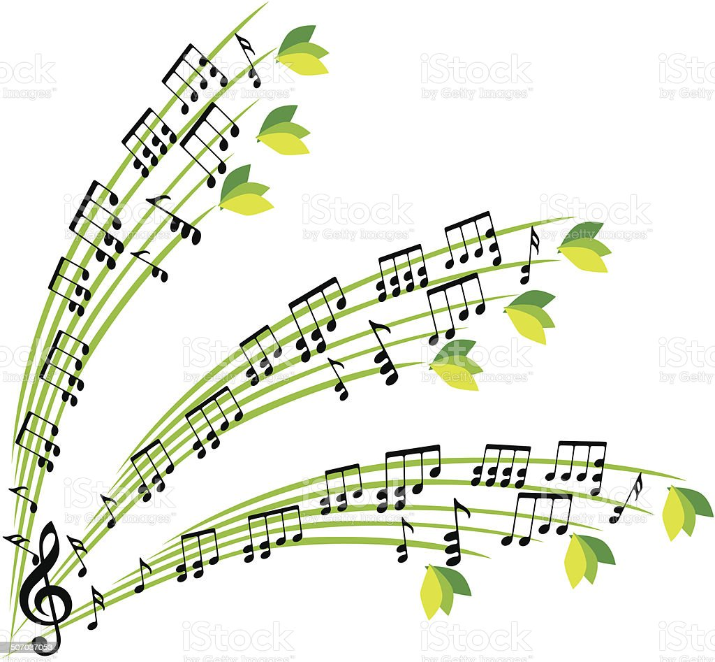 Music notes composition, stylish musical theme background vector art illustration