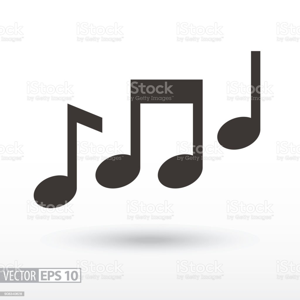 Music notes flat Icon. Sign music vector art illustration