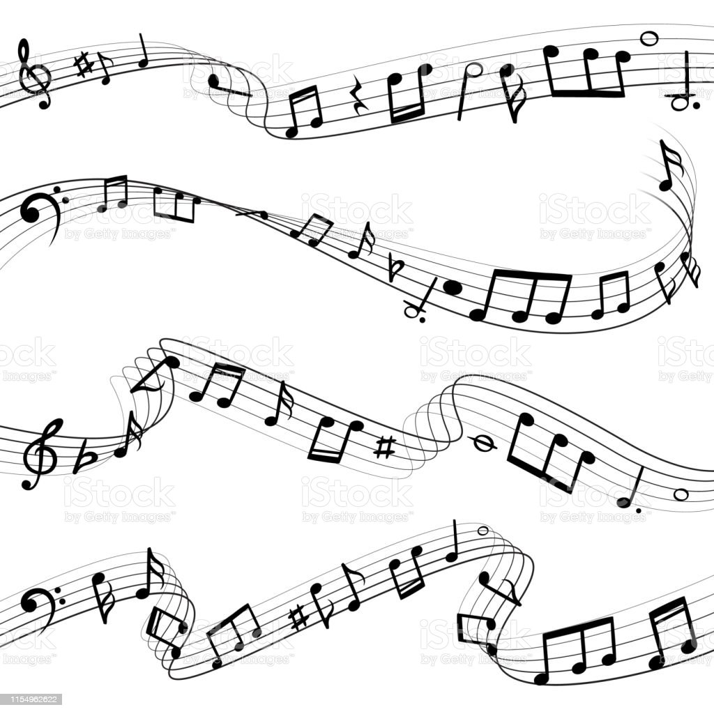 Music notes flowing. Musical note key composition, wavy melody black...