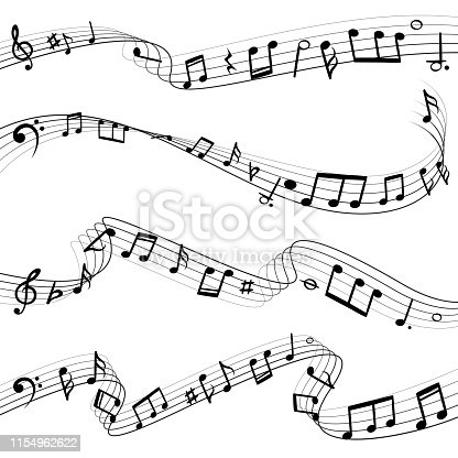 Music notes flowing. Musical note key composition, wavy melody black silhouettes, music swirl waves vector set