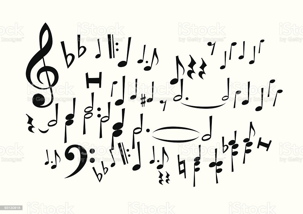 Music Notes Freehand Drawing (not common dingbats) royalty-free stock vector art