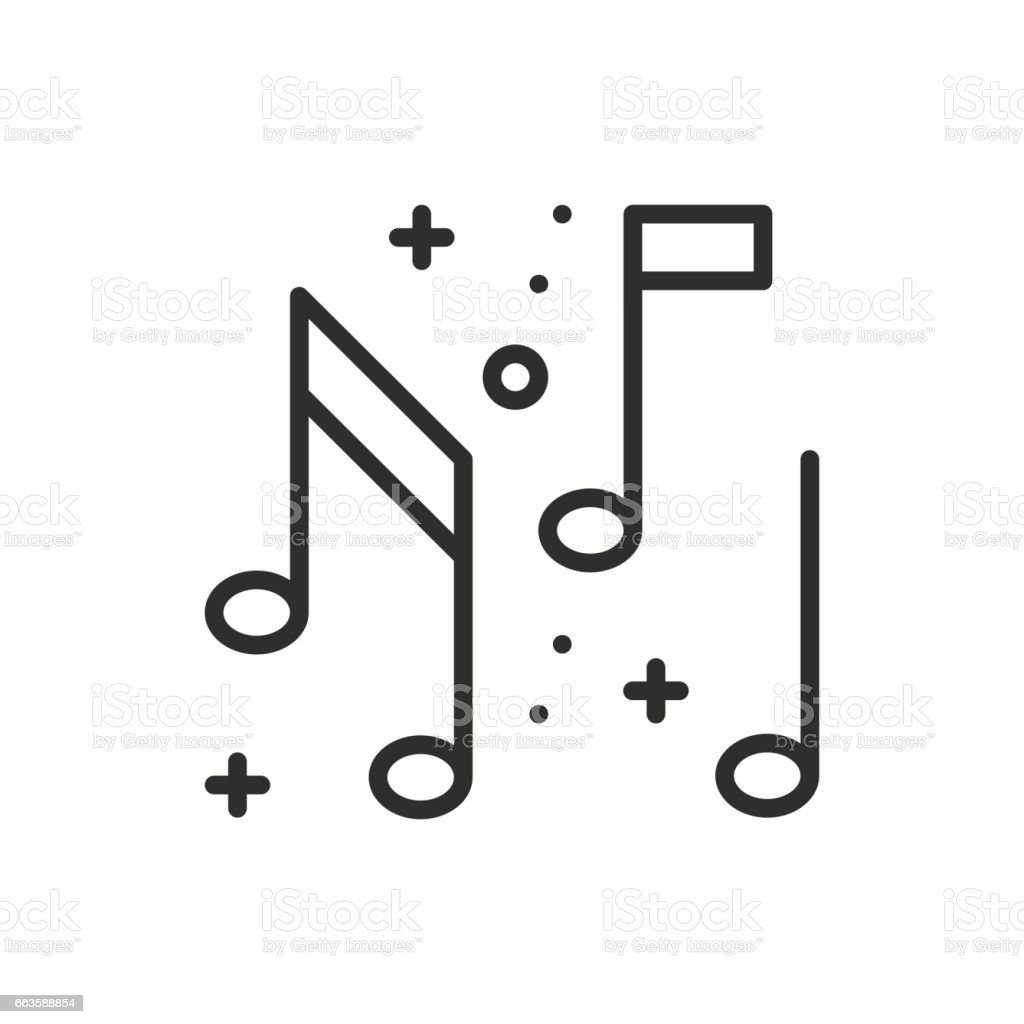 Music, notes icon. Disco, dance, nightlife club. Party celebration birthday holidays event carnival festive. Thin line party basic element icon. Vector simple linear design. Illustration. Symbols vector art illustration