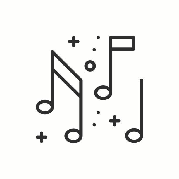 illustrations, cliparts, dessins animés et icônes de musique, icône de la note. disco, dance, club de la vie nocturne. fête de célébration anniversaire vacances événement carnaval festif. icône ligne mince parti élément de base. conception linéaire simple vecteur. illust. symboles - icônes musique