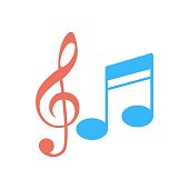 istock Music notes icon in flat design style. Musical tones sign. 1281266183