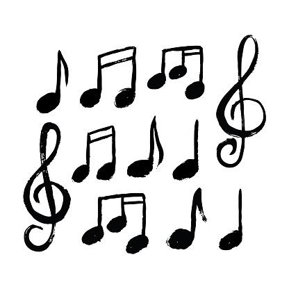 Music Notes Icon Set - Stockowe grafiki wektorowe i więcej obrazów Abstrakcja