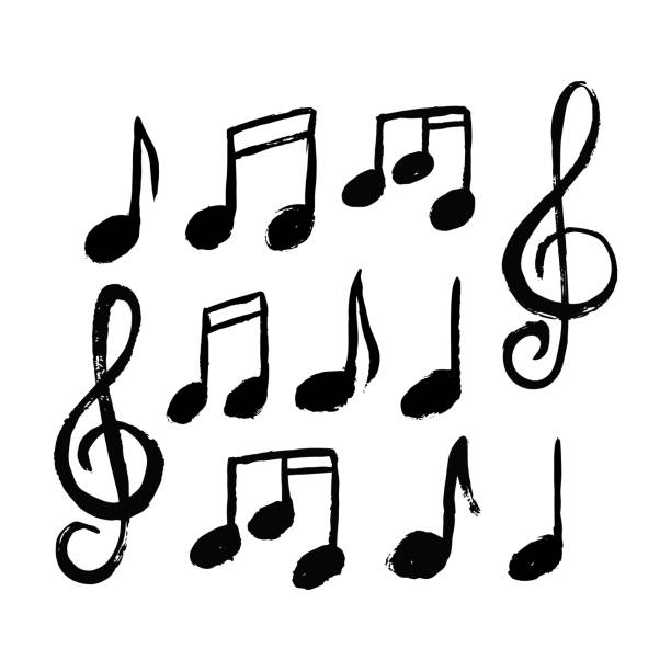 Music notes icon set vector art illustration