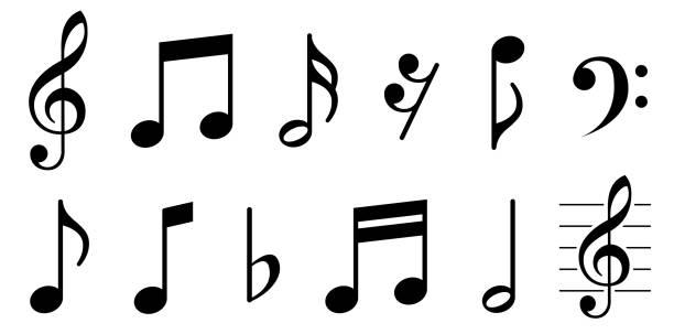 zestaw ikon notatek muzycznych. czarny symbol notatek na białym tle - wektor akcji. - muzyka stock illustrations