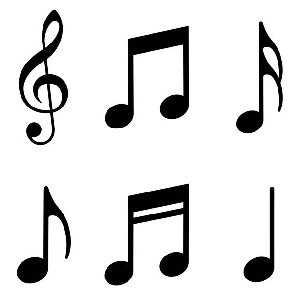 music notes icons set. vector - nuta stock illustrations