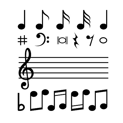 Music notes in various formats in a white background For assembly Or create teaching material for mothers who do Homeschool And teachers who find pictures for teaching materials such as flashcards or children's books.