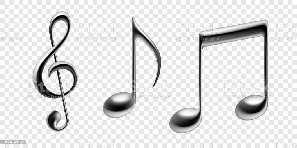 Music Notes Isolated Icons Vector Realistic Silver Metallic Note