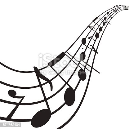 Music notes on wavy staff. A4 size page. Graphic design element for web, flyers, prints, flyers, prints. Abstract vector illustration.