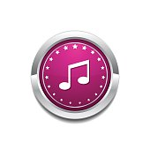 Music Notes Pink Vector Button Icon