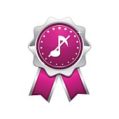 Music Notes Pink Vector Icon Design