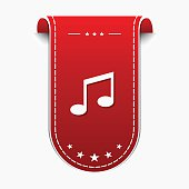 Music Notes Red Vector Icon Design