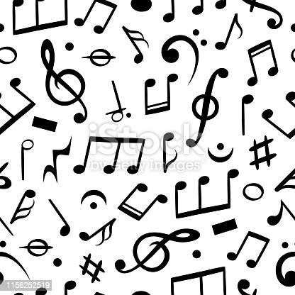 Music notes seamless. Musical note pattern textile wallpaper, melody art. Vector sound symbol background