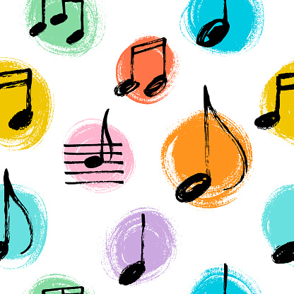 Music notes seamless vector pattern.