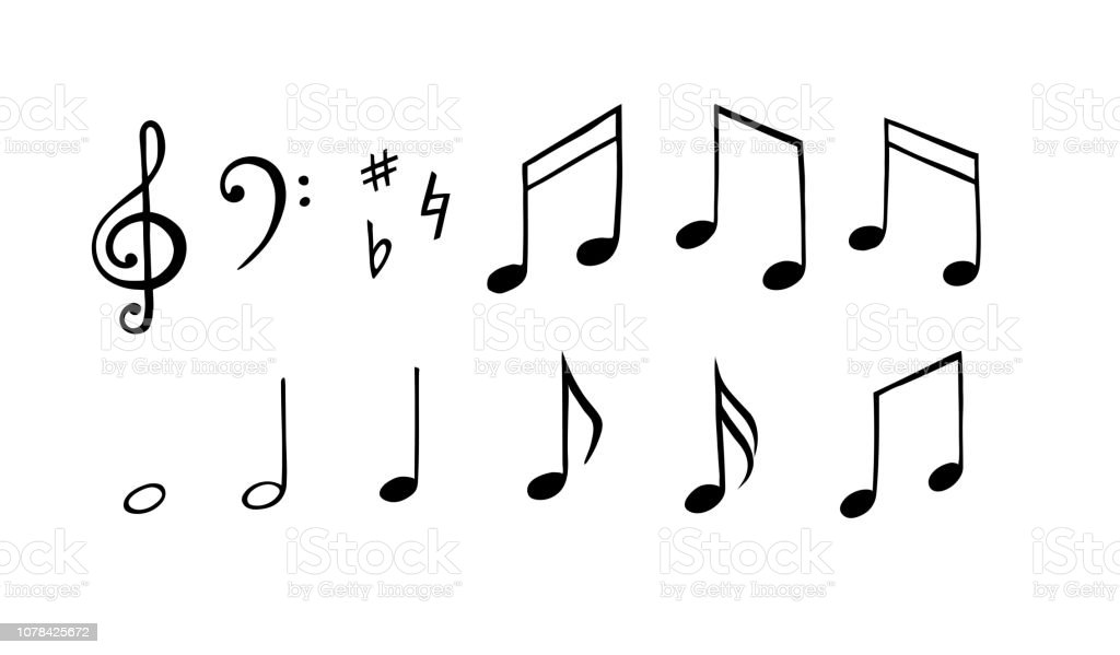 Music Notes Set Hand Drawn Illustration Melody Symbol Stock Vector